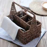 Zakka Japanese Style Home Storage & Organization Storage Baskets Rattan Aquatic Weeds Handmade With Handle Desktop Storage Box