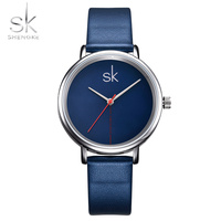 Shengke Women Watch Luxury Top Brand Business Watch Women Clock Leather Navy Simple Fashion Watch Ladies
