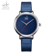 Shengke Women Watch Luxury Top Brand Business Watch Women Clock Leather Navy Simple Fashion Watch Ladies Relogio Feminino 2017