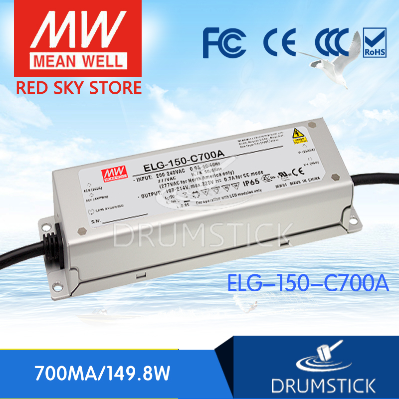 цена на (Only 11.11)MEAN WELL ELG-150-C700A-3Y (2Pcs) 225V 700mA meanwell ELG-150 149.8W Single Output LED Driver Power Supply A type