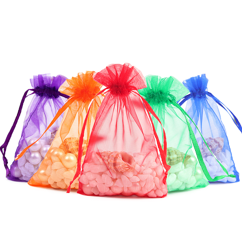 20pcs 9x12 13x18 17x23cm Transparent Organza Cosmetic Bag Jewelry Packaging Bags Wedding Candy Bags Box Gifts Drawstring Pouches