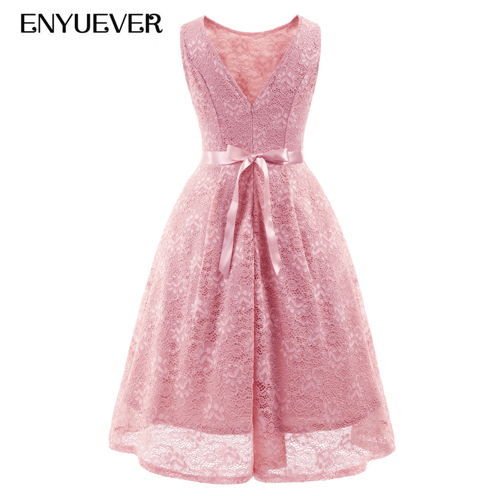Enyuever Short Lace Dress Pink 2018 Summer Dress Casual Pinup Tunic ...