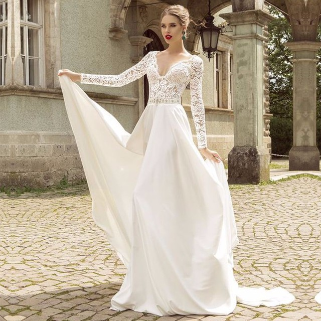 Free shipping High quality V Neck French Lace Free Wedding Dress ...