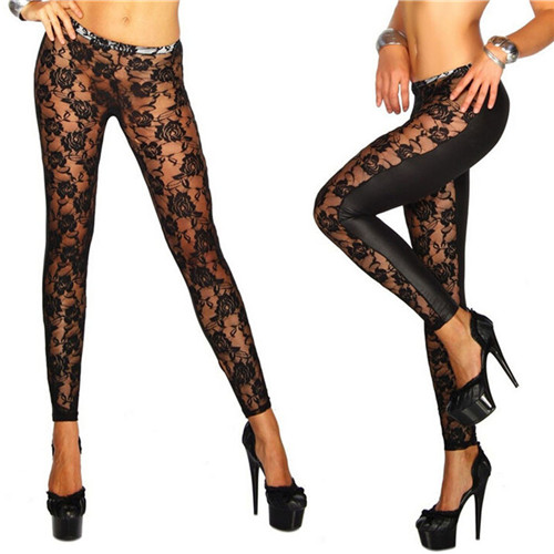 Women Black Rose Floral Lace Faux Leather Leggings Pants Sexy Girls Leggings Gifts Wholesale 1Pcs