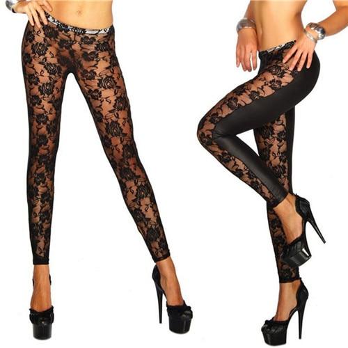 Women Black Rose Floral Lace Faux Leather Leggings Pants Sexy Girls Leggings Gifts Wholesale 1Pcs