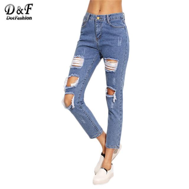 Dotfashion Mulheres Calças Jeans Da Moda Azul Joelho Rasgado Skinny Recortada Calças Meados de Cintura calças de Brim Botão Mosca