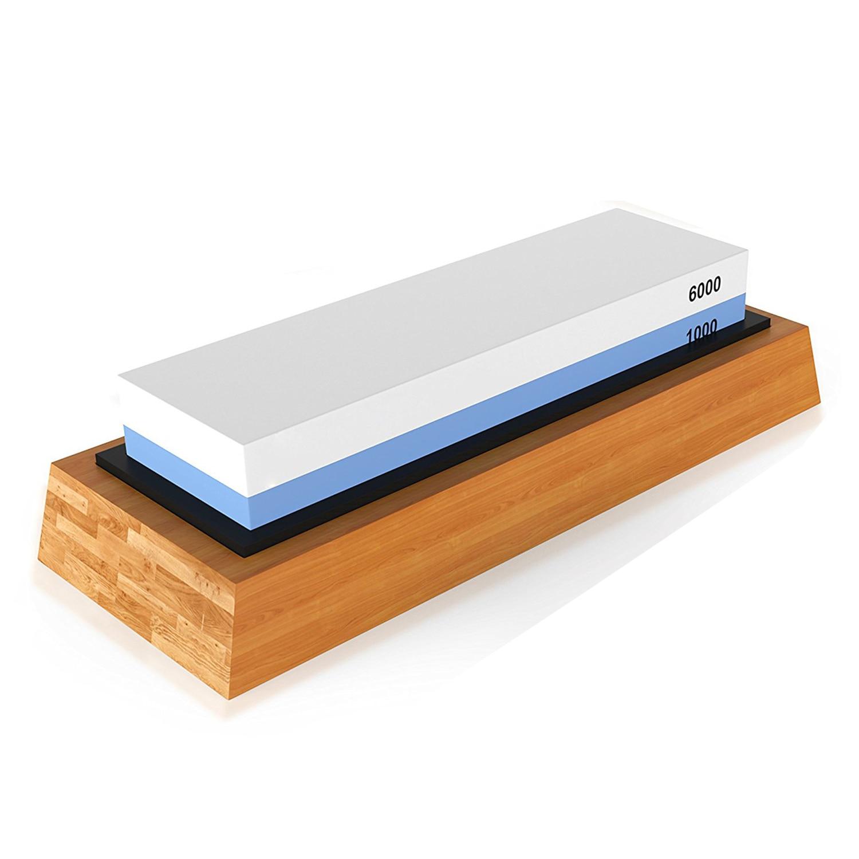 Premium pedra de afiação 2 lado grit 1000/6000 pedra de amolar | melhor cozinha faca afiador waterstone | base de bambu antiderrapante &