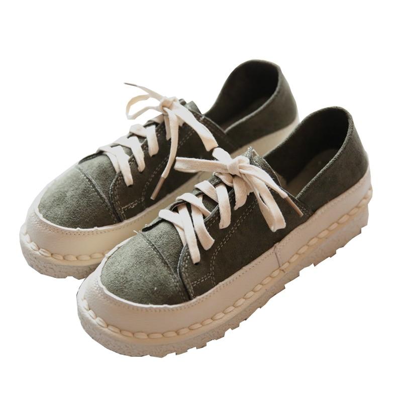 Mocassins Pour Vintage vert Femmes Lacent Chaussures Dames Taille Cuir Patchwork kaki Main Casual Marron En Véritable BABwrv0