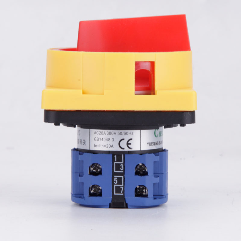 LW26GS-20 690V 20A Padlock Rotary Cam Switch OFF-ON 2 position 4 Poles 8 terminals main switch, emergency stop