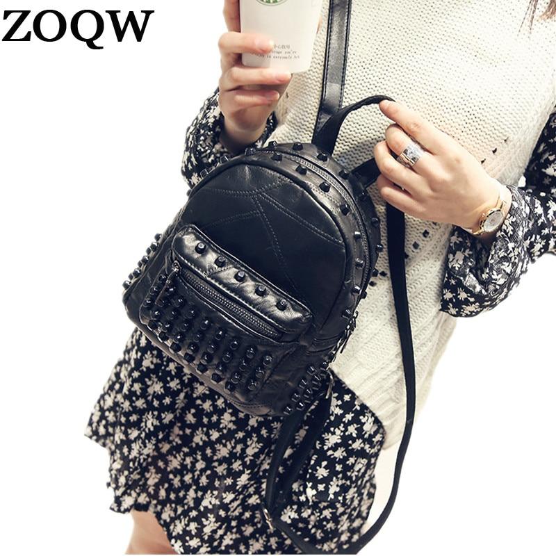 Zoqw Fashion Women Backpacks For Teenage Girls Rivet Travel Bagpack Small Leather Backpack Female Mochila School Bag Wyq501