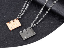 """Romantic """"Love Story""""  Book Pendant Couple Necklace Black Gold-Color Stainless Steel Necklace for Men and Women Jewelry"""