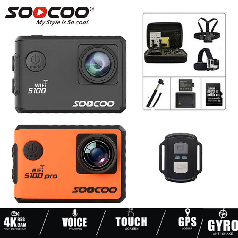 SOOCOO Action Camera S100 Pro Ultra 4K 24FPS Wifi Touch Screen 30M Waterproof DV Built In Gyro With GPS Extension Sports Camera