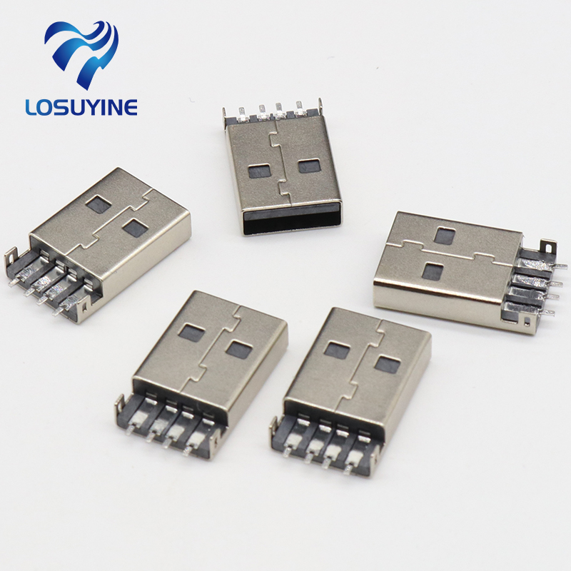 10pcs/lot USB 2.0 4Pin A Type Male Plug SMT Connector Black G49 for Data Transmission Charging Free Shipping 10pcs g41 usb male 4pin a type plug