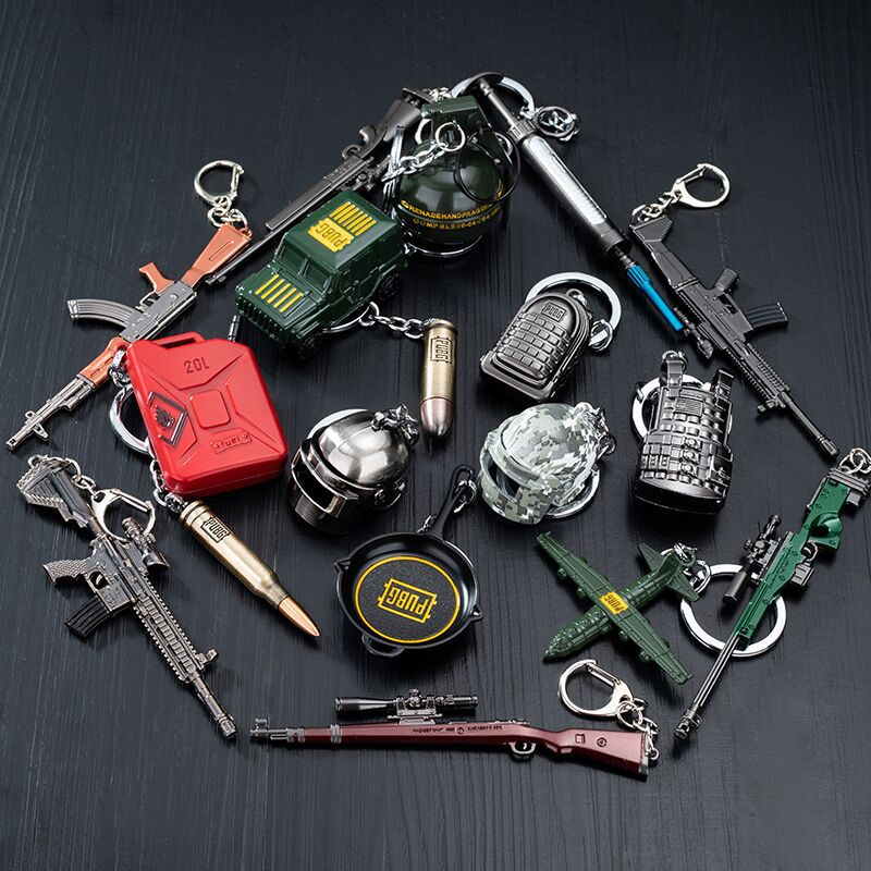 PUBG PLAYERUNKNOWN'S BATTLEGROUNDS Creative Car Pendant Cosplay Costume Keychain Helmet Backpack Pan Metal Model Key Chain