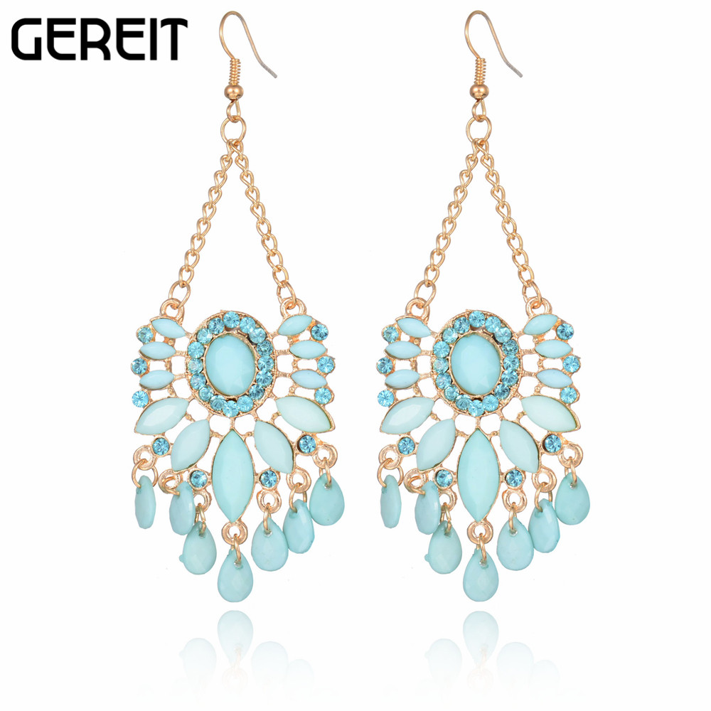 Costume Jewelry Created Gemstone Ethnic Chandelier Earrings Long Drop Bohemian For Women Accessories Brincos Je15148 In From