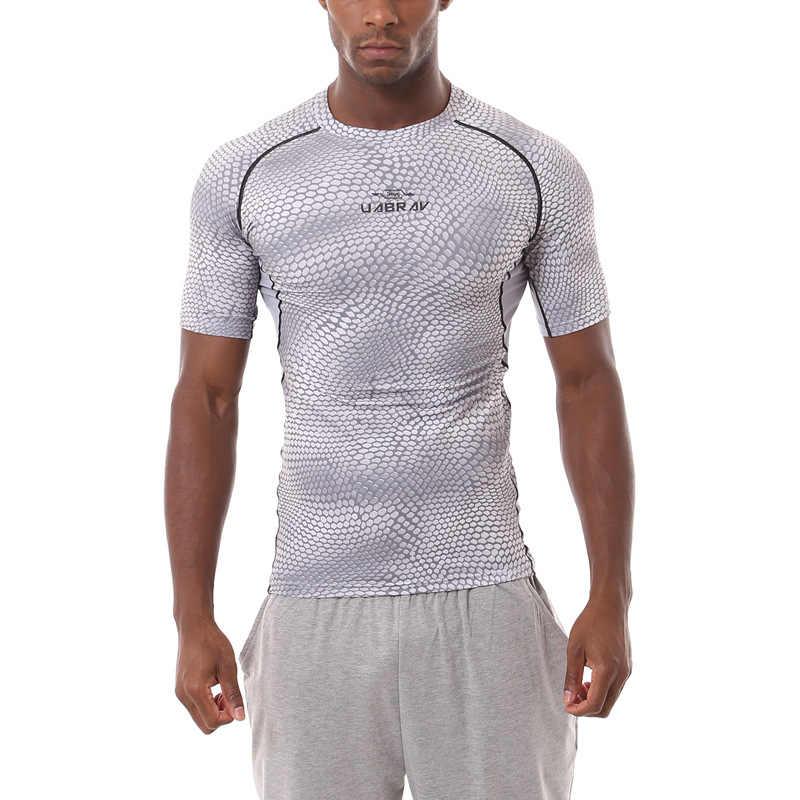 Olahraga Kemeja Pria T Shirt Dry Fit Kulit Ular Tekstur Dicetak Basket Gym Baselayer Menjalankan Tshirt Camiseta Deporte Hombre XXL