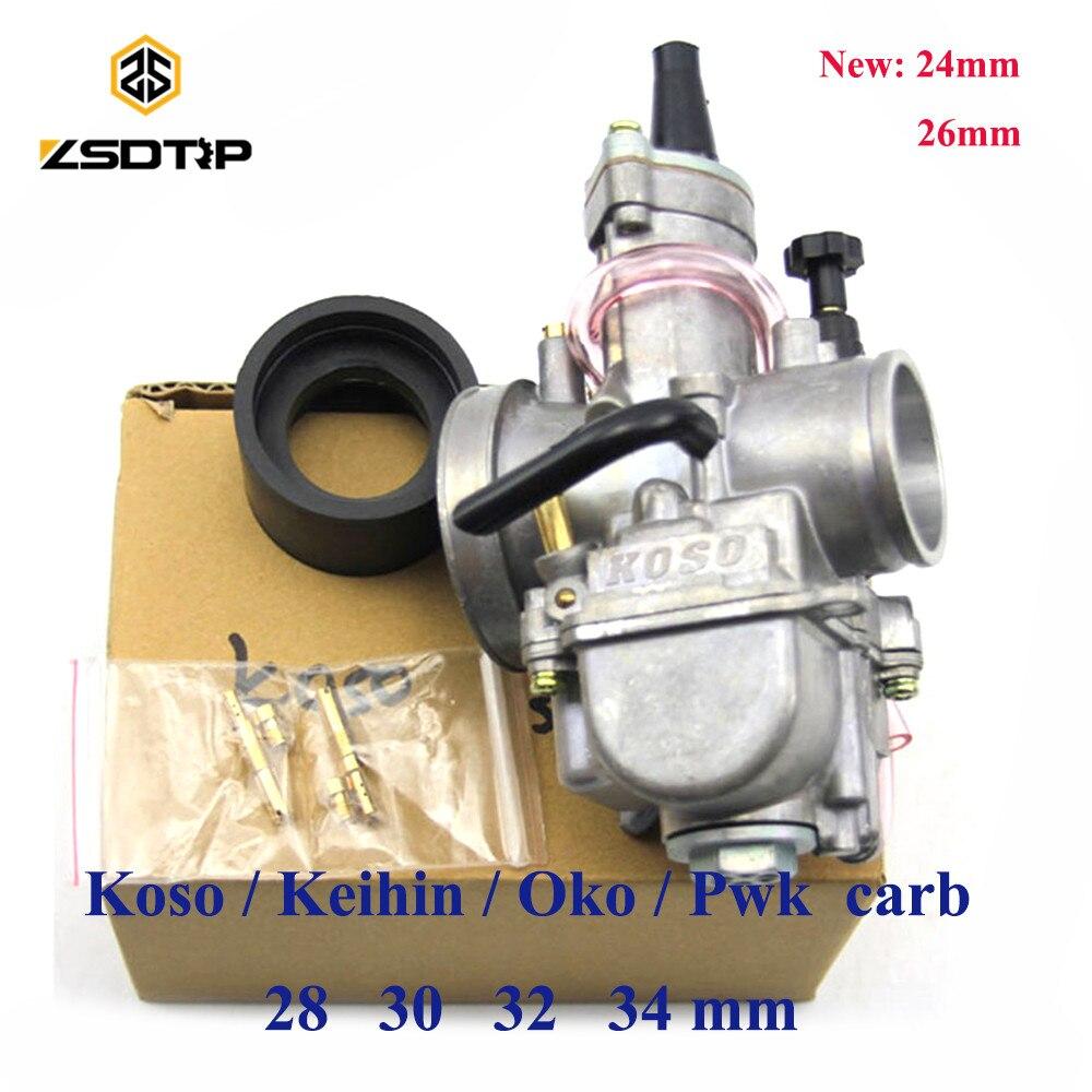 Zsdtrp motocicleta keihin koso pwk carburador carburador 21 24 26 28 30 32 34 mm com ajuste de jato de energia no motor de corrida