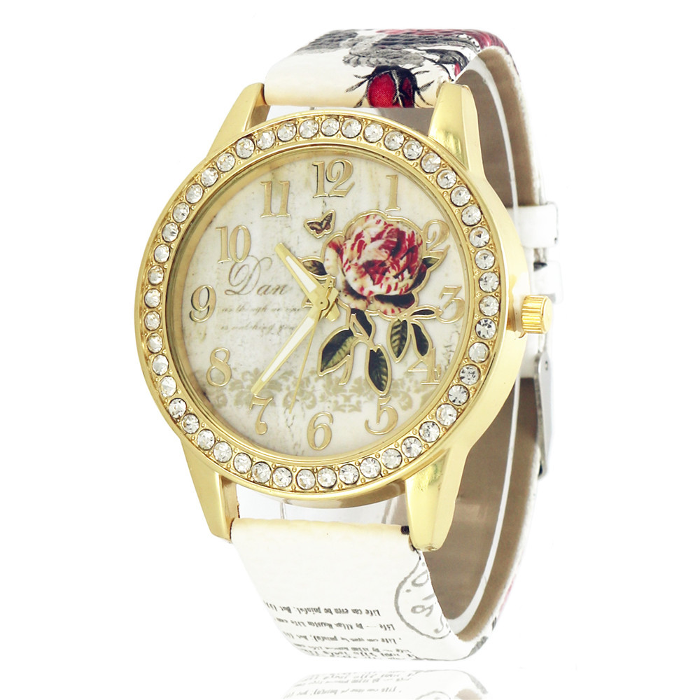 Drop Shipping New Wath Rhinestone Floral Printing Leather Women Watches Golden Font Pattern Relogio Feminino Ladies Watch Women