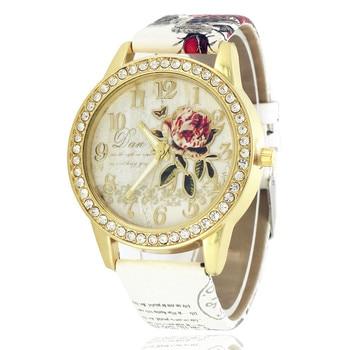 Drop Shipping New Wath Rhinestone Floral Printing Leather Women Watches Golden Font Pattern relogio feminino Ladies Watch