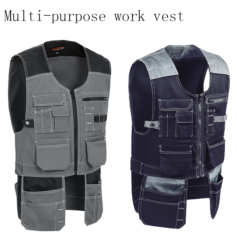 New Men Work Vest Safety Clothing Multi-pockets Tool Vest Multi Functionnal Photographer Carpener Mechanic Workwear Tops 2 Color