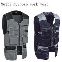 New Men Work Vest Safety Clothing Multi-pockets Tool Vest Multi functionnal Photographer Carpener Mechanic Workwear Tops 2 color