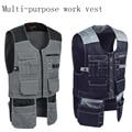 Nieuwe Mannen Werken Vest Kleding Veiligheid Multi-zakken Tool Vest Multi functionnal Fotograaf Carpener Monteur Workwear Tops 2 kleur
