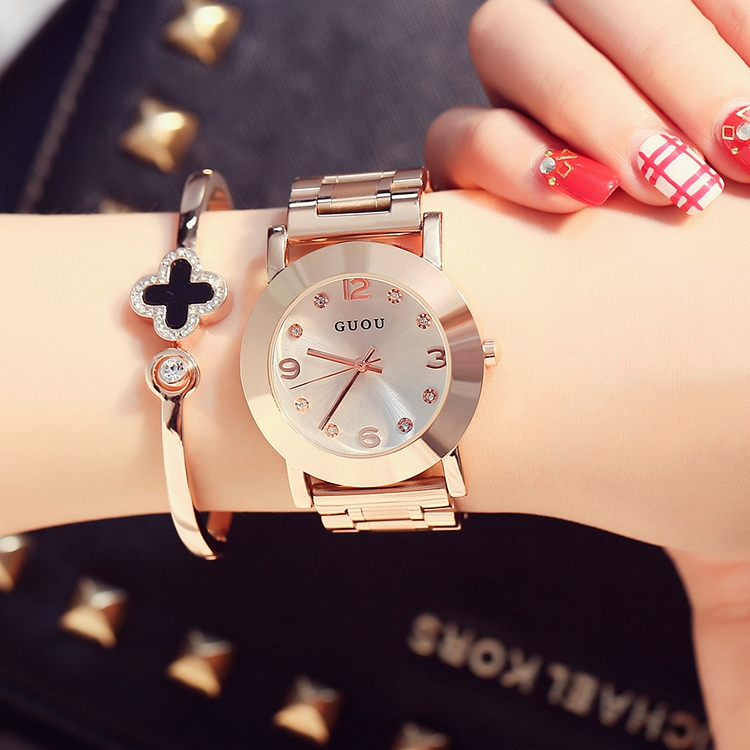 2016 HK Fashion Brand Ladies Luxury Clock Rose Gold Steel Watch with Fine Alloy Women Dress