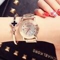 2016 HK Fashion Brand Ladies Luxury Clock Rose Gold Steel Watch with Fine Alloy Women Dress Watch rhinestone quartz WristWatches