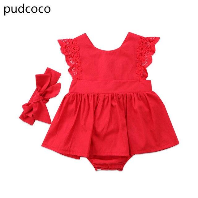 Vermelho Do Natal Vestido de Verão Backless Flor Vestido Da Menina Bebê Rendas Princesa Romper Macacão Roupas Natal Headband Outfits Roupas