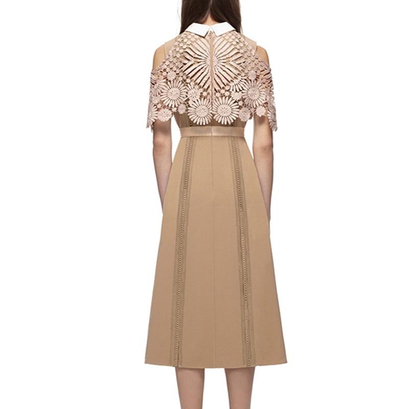 Patchwork Designer Robes Femme Piste Midi Qualité Apricot De 2017 Haute Dentelle PIPFY