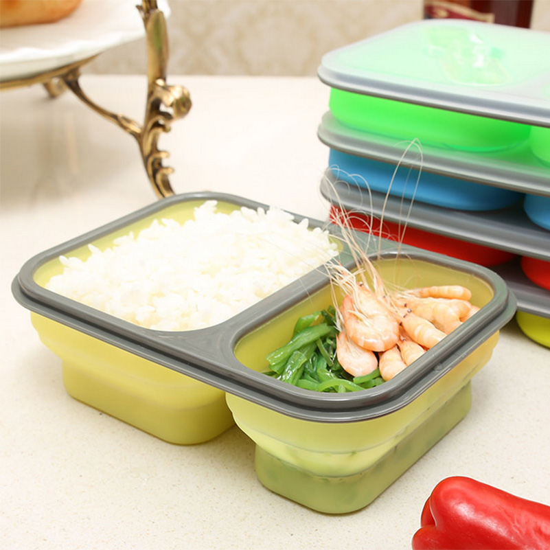 1pcs Eco friendly Silicone Folding Microwave Bento Lunch Box With Spoon Fork in Portable lunch box