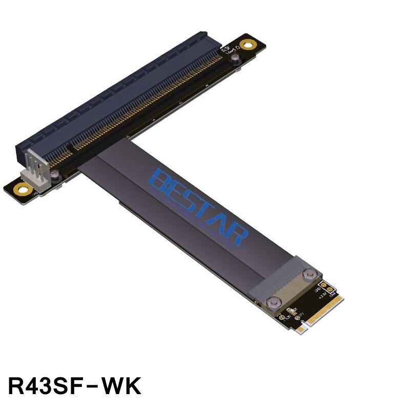 BTM nouveau câble d'extension de carte Riser minière PCIe 3.0x16 à M.2 NGFF NVMe x4 carte adaptateur vidéo avec câble d'alimentation SATA Non usb