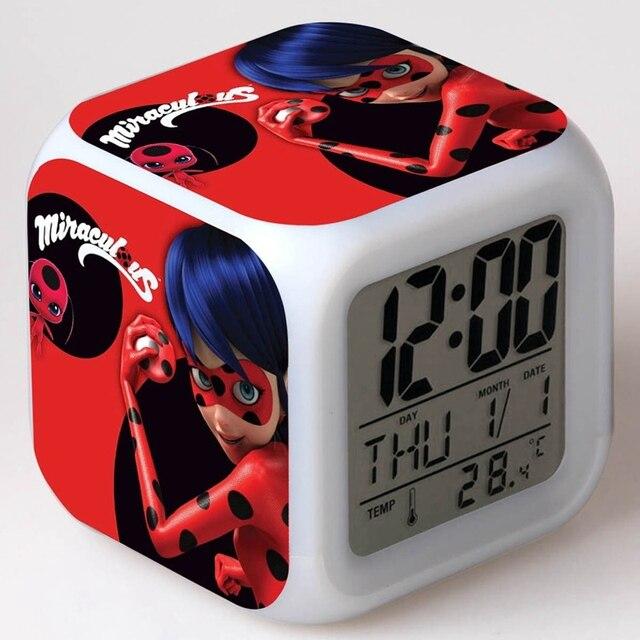 Charmant LED 7 Color Flash Digital Alarm Clock With Gift Box Miraculous Ladybug  Night Light Bedroom Clocks