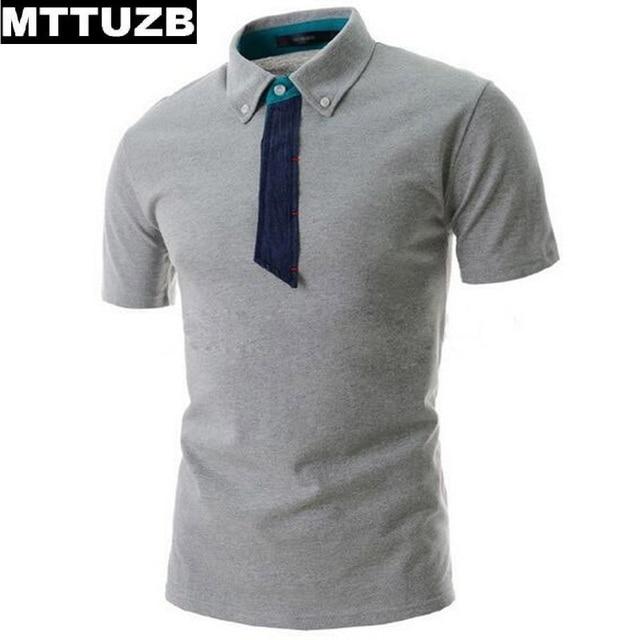 MTTUZB моды для мужчин галстук polo рубашка мужская повседневная с коротким рукавом топы человек лето тис мужской polo рубашки белый и светло-серый цвет