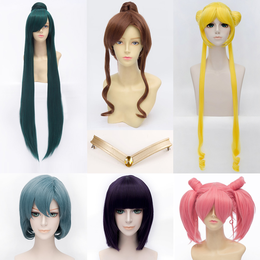 Sailor Moon Cosplay wigs halloween cosplay for women headband Kino Pluto Mizuno Tomoe Ch ...