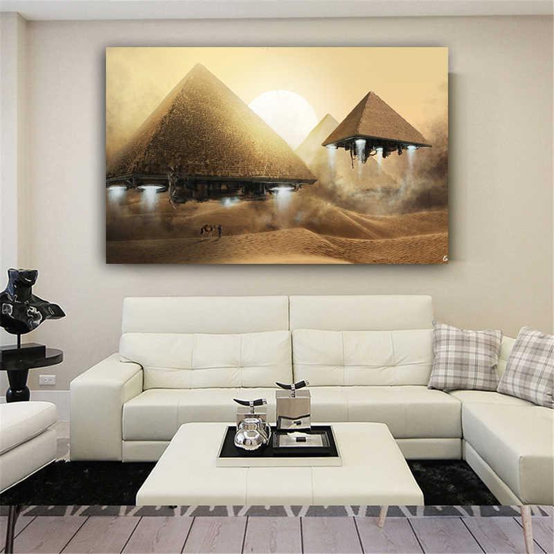 RELIABLI ART Canvas Schilderij Drijvende Piramide Egypte Posters En Prints Decoratief Schilderen Muur Foto 'S Voor Woonkamer