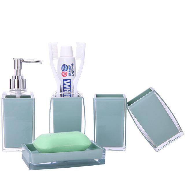 5Pcs/Set Acrylic Hotel Bathroom Toilet Accessories