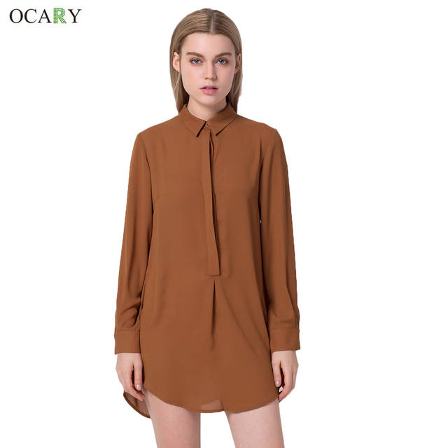 68a065b84ce1 placeholder OCARY Long Sleeve Waist Lace up Blouse Loose Style Button  Chiffon Shirt Blouse Dark Coffee Color