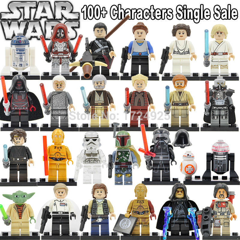 Star Wars Block Single Sale Yoda Leia figure Boba Fett Ki Adi BB8 Clone Trooper Darth