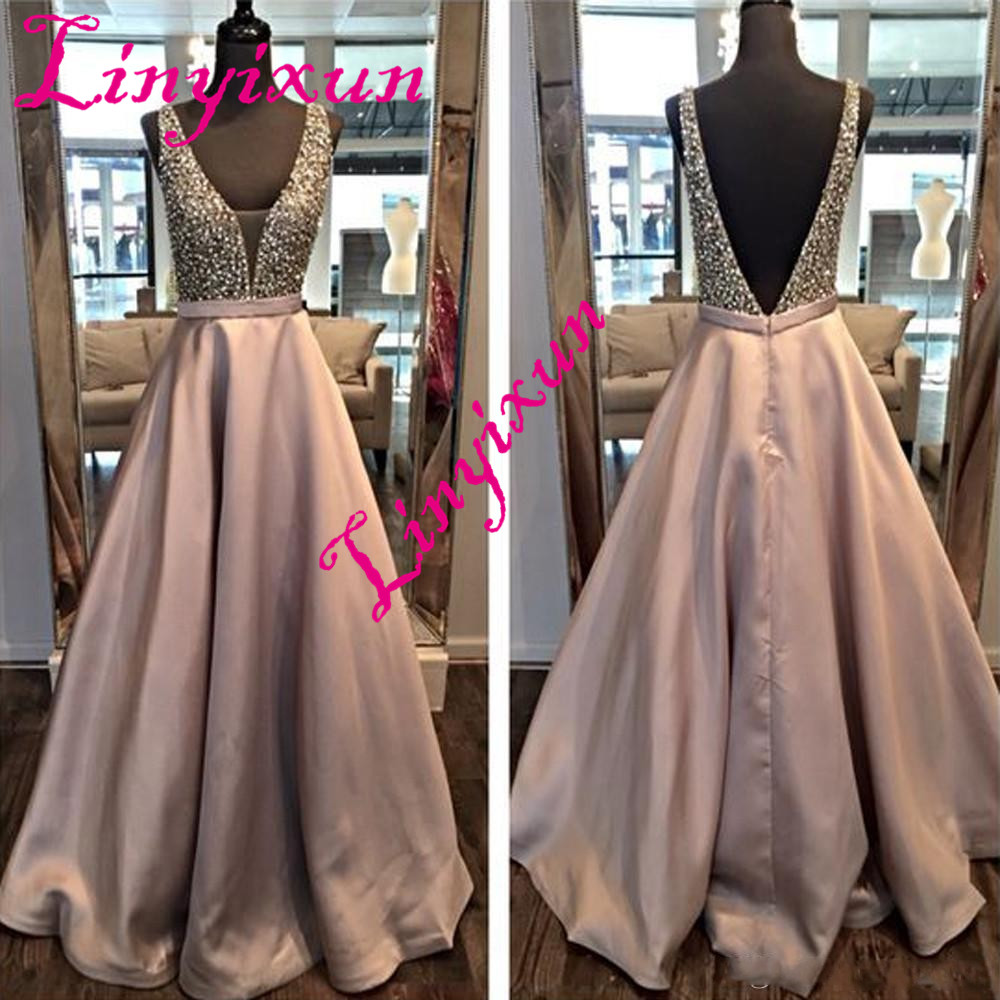 Linyixun Robe de soiree longue Sparkly Long A Line Satin Prom Dresses 2018 Abendkleider Sleeveless Saitn Evening Party Dress
