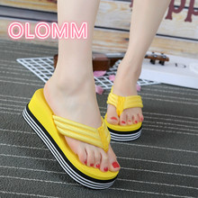 New summer high-heeled flip flops with slopes and thick sandy beaches flip flops bunny slopes