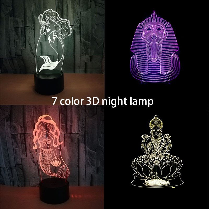 3D night light lovely mermaid shape 7 color table lamp USB LED lamp as a gift or decoration Night Lamp Indoor Decor