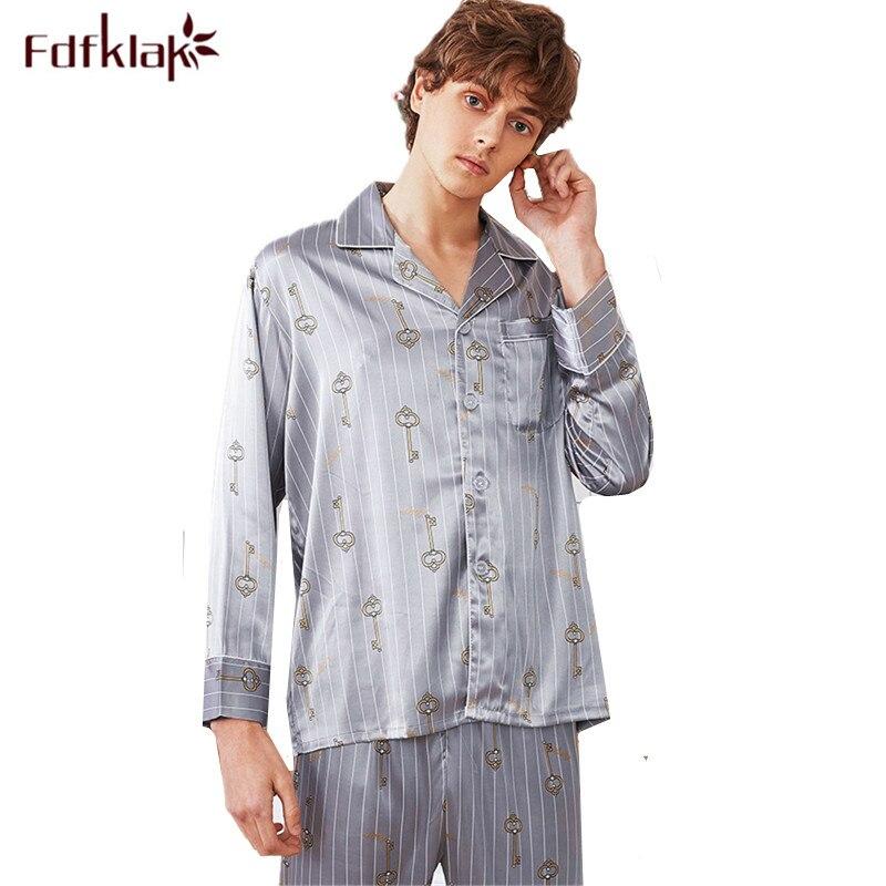 Fdfklak Large Size Men's Pajamas Set Long Sleeve Sleepwear Pijamas Print Silk Pyjamas Men Spring Summer Nightwear Pyjama Homme