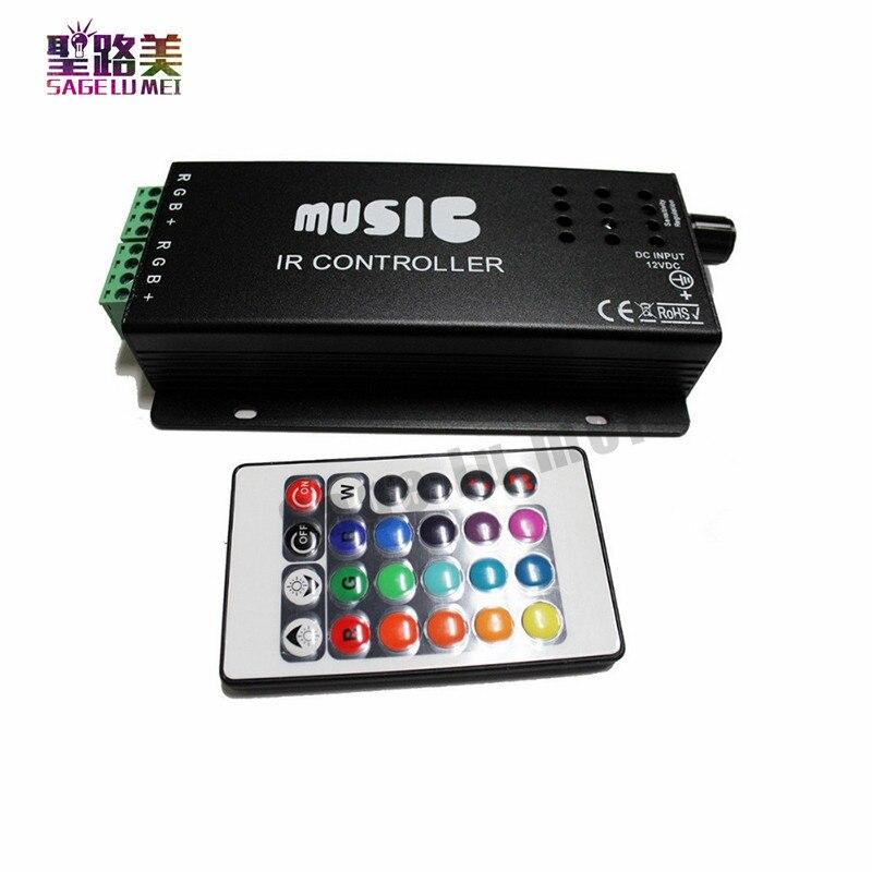 best price DC12-24V 24 Keys music controller IR remote RGB controller Sound Sensitive for 5050 3528 led strip light lamp цена