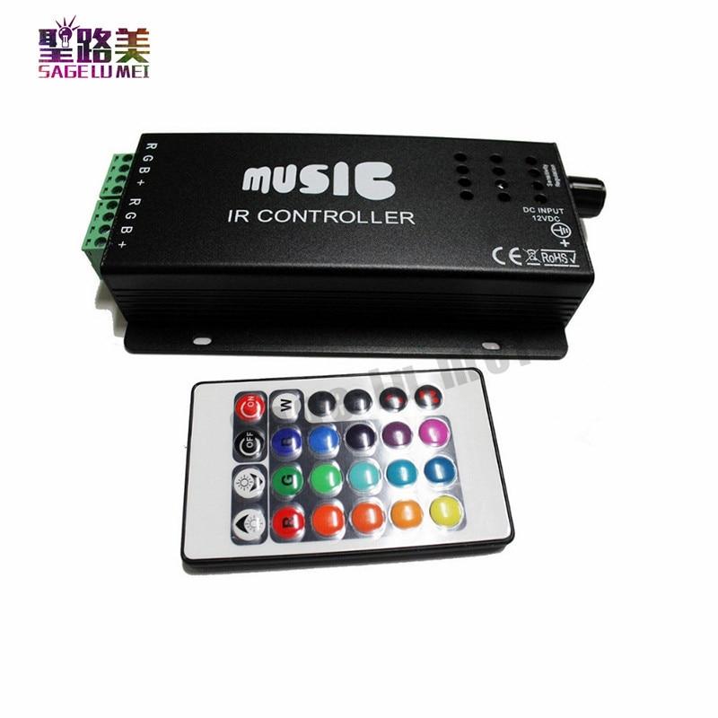 საუკეთესო ფასი DC12-24V 24 კლავიშების მუსიკალური კონტროლერი IR დისტანციური RGB კონტროლერი ხმის მგრძნობიარე 5050 3528 ლედ ნათურის ნათურისთვის