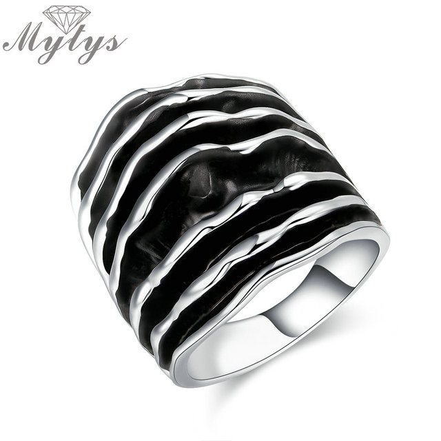 Mytys Gold Silver Color Fashion Wide Chunky Stripes Rings Enamel Wave Line Statement Ring For Women Two Tone Style R1910 R1911