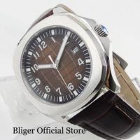 BLIGER Retro Relógio dos homens Automáticos Nologo Dial 39mm Caixa do Relógio de Aço Inoxidável Relógio De Pulso Com Data Janela