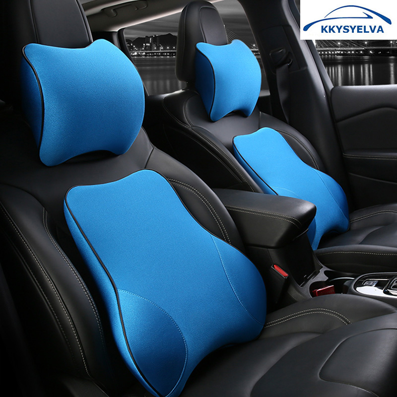 цена на Car Neck Pillow Lumbar Waist Support Headrest Pillows Back Cushion Seat Supports Memory Foam Seat Covers Auto Accessories