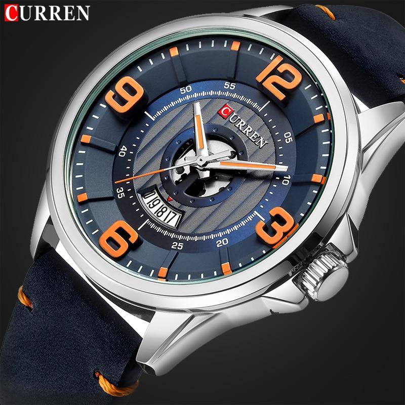 New CURREN Luxury Brand Men Fashion Sport Watch Mens Leather Waterproof Quartz Wrist Watches Male Date Clock Relogio Masculino