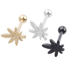 1 PC Fashion 16G Stainless Steel Leaf Labret Tongue Ring Sexy Barbell Ear Nail Rings Body Piercing Jewelry For Women Ladies